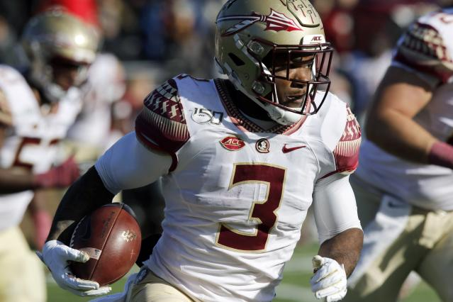 Florida State running back Cam Akers carries the ball in the first half of an NCAA college football game against Boston College, Saturday, Nov. 9, 2019, in Boston. (AP Photo/Bill Sikes)