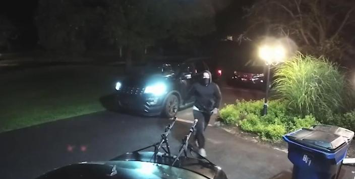 Home security footage shows a man who was arrested in connection with 1,000 break-ins north of Philadelphia. (NBC Philadelphia)