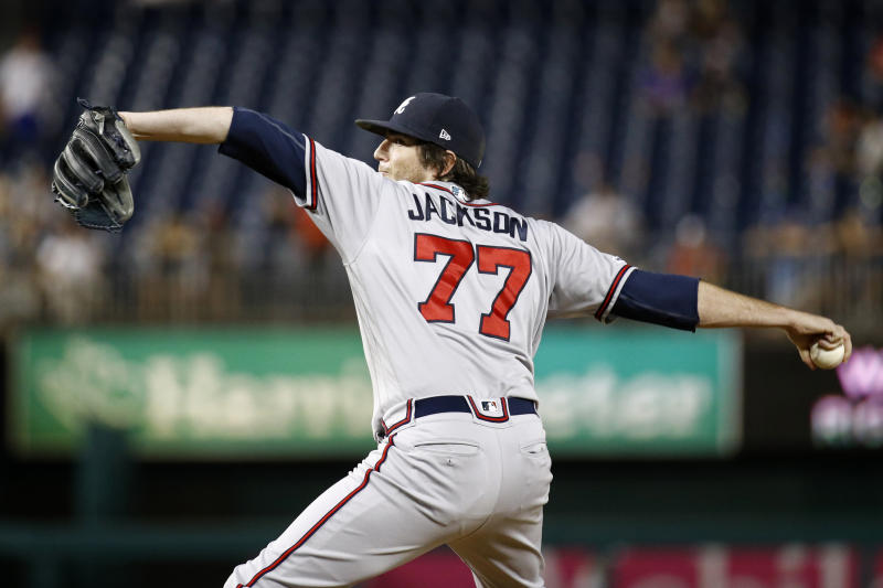Atlanta Braves relief pitcher Luke Jackson throws to a Washington Nationals batter during the ninth inning of a baseball game Tuesday, July 30, 2019, in Washington. Atlanta won 11-8. (AP Photo/Patrick Semansky)