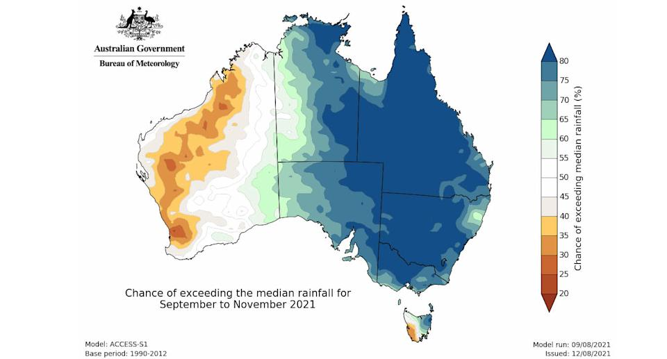 Map of the rainfall outlook for Australia's upcoming spring (September to November). Source: Bureau of Meteorology.