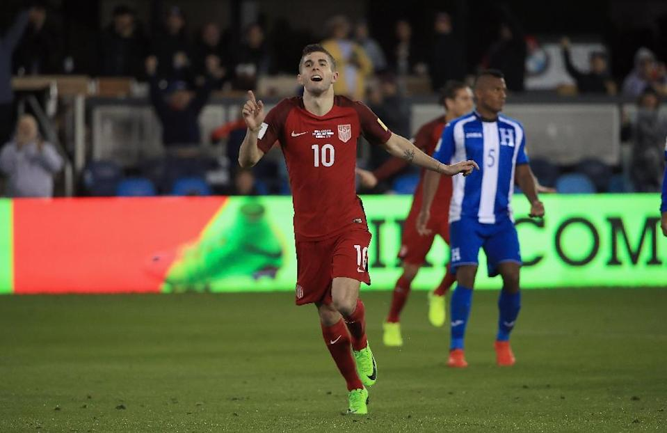 Christian Pulisic of the US celebrates after scoring a goal against Honduras during their Russia 2018 World Cup qualifier, at Avaya Stadium in San Jose, California, on March 24, 2017 (AFP Photo/Ezra Shaw)