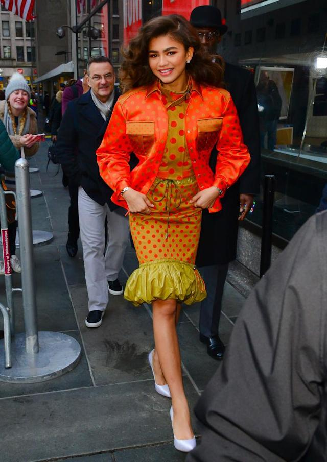 <p>Wearing a Mary Katrantzou look straight off the Spring 2018 runway, Zendaya sat down for an interview on <em>The Today Show</em>. (Photo: Getty Images) </p>