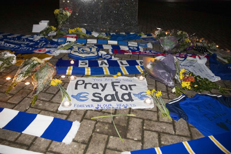Cardiff fans pay their respects outside Cardiff City Stadium to new record signing Emiliano Sala, after the plane he was travelling on from Nantes to Cardiff went missing over the English Channel, January 22nd 2019. PHOTOGRAPH BY Mark Hawkins / Barcroft Images (Photo credit should read Mark Hawkins / Barcroft Images / Barcroft Media via Getty Images)