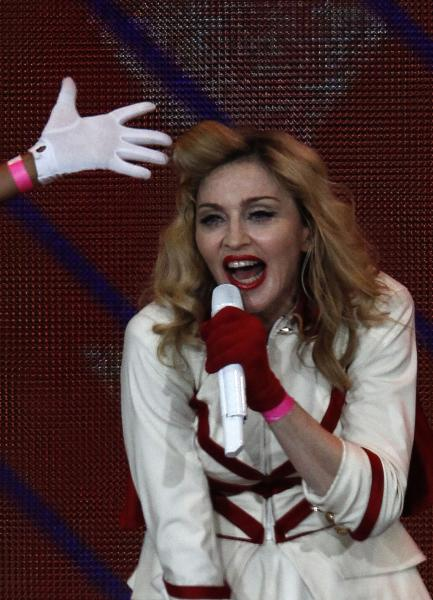 U.S. singer Madonna performs during her concert in St. Petersburg, Russia, Thursday, Aug. 9, 2012. (AP Photo/ Alexander Demianchuk, Pool)