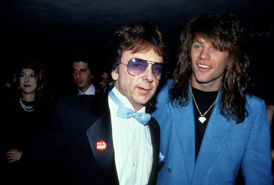 NEW YORK, NY - CIRCA 1990: Phil Spector and Jon Bon Jovi circa 1990 in New York City. (Photo by Sonia Moskowitz/IMAGES/Getty Images)