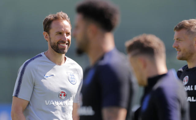 England head coach Gareth Southgate, left, attends England's official training in Zelenogorsk near St. Petersburg, Russia, Wednesday, June 27, 2018, on the eve of the group G match between Belgium and England at the 2018 soccer World Cup. (AP Photo/Dmitri Lovetsky)