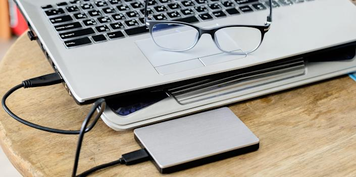 external hard drive hdd ssd and laptop computer