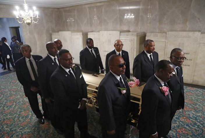The casket of Aretha Franklin is laid to rest at Woodlawn Cemetery in Detroit, Friday, Aug. 31, 2018. Franklin died Aug. 16, 2018 of pancreatic cancer at the age of 76. (AP Photo/Paul Sancya, Pool)