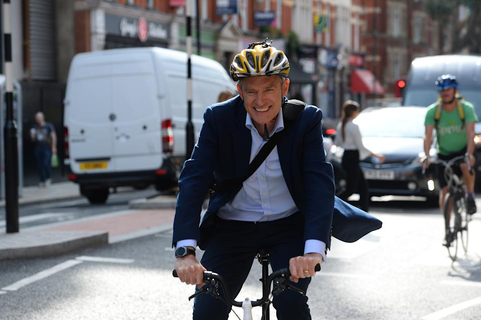 Jeremy Vine leaves the ITN studios in London after presenting the first episode of his new show for Channel Five.