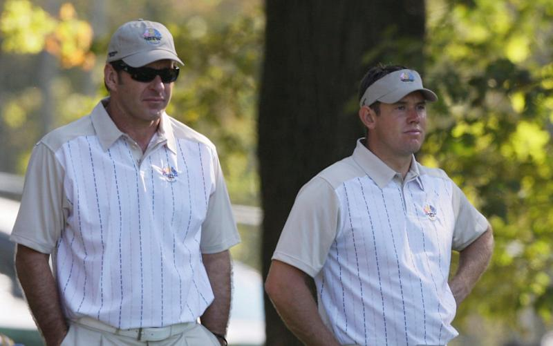 Sir Nick Faldo and Lee Westwood carried the hopes of England alone not long ago - Credit: AP