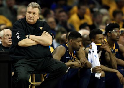 Mar 26, 2015; Cleveland, OH, USA; West Virginia Mountaineers head coach Bob Huggins during the first half against the Kentucky Wildcats in the semifinals of the midwest regional of the 2015 NCAA Tournament at Quicken Loans Arena. (Andrew Weber-USA TODAY Sports)