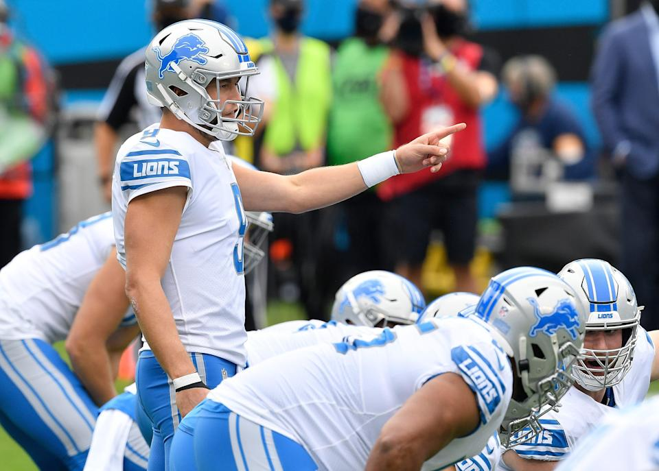 Lions quarterback Matthew Stafford calls out to his offense during the first half against the Panthers on Sunday, Nov. 22, 2020, in Charlotte, North Carolina.