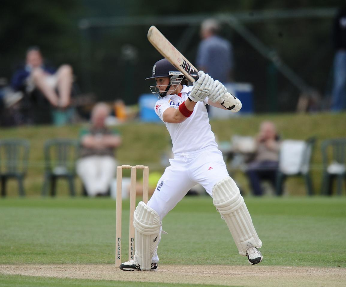 England's Arran Brindle bats during day four of the First Women's Ashes test match at Wormsley Cricket Ground, High Wycombe.