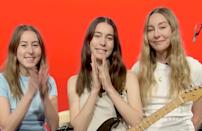 <p>The sisters of HAIM — Este, Danielle and Alana — put their hands together on Monday during the Recording Academy's inaugural Women in the Mix event, which highlighted the contributions of women in music and marked a $25,000 donation to five charities and organizations that support the growth of women and girls in production and engineernig. </p>