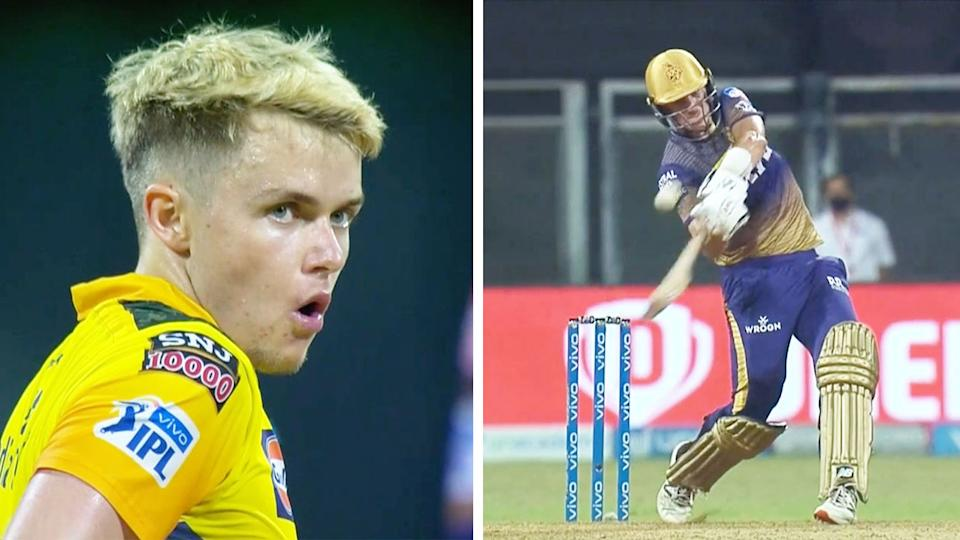Pat Cummins (pictured right) hitting a six off a shocked Sam Curran (pictured left).