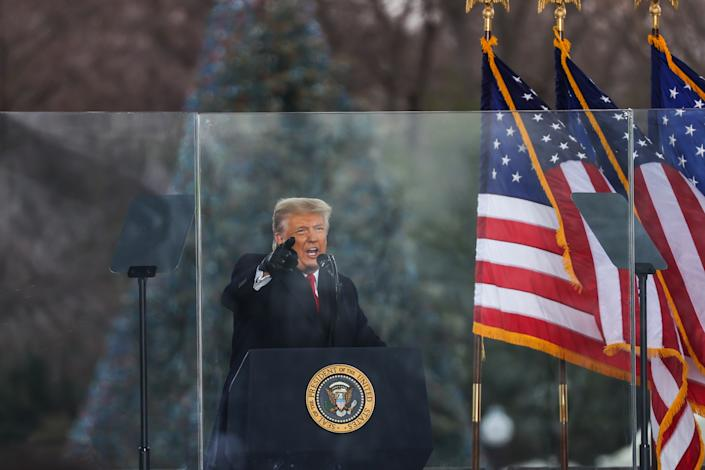 "US President Donald Trump speaks at ""Save America March"" rally in Washington D.C., United States on January 06, 2021. (Tayfun Coskun/Anadolu Agency via Getty Images)"