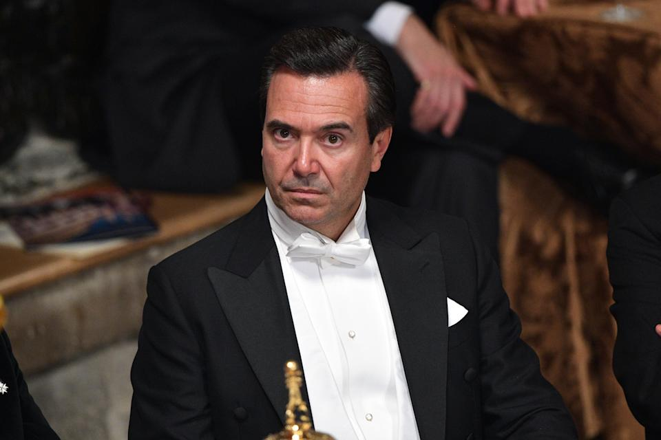 LONDON, ENGLAND - NOVEMBER 14: Lloyds Banking Group chief executive, Antonio Horta-Osorio, listens to a speech during the Lord Mayor's Banquet at Guildhall on November 14, 2016 in London, England. The Lord Mayor of London, Andrew Parmley, is hosting the annual Lord Mayor's Banquet in London's Guildhall which will feature speeches from the Prime Minister and the Archbishop of Canterbury. Andrew Parmley was recently elected 689th Lord Mayor of the City of London, a role that has been in existence since 1189.  (Photo by Carl Court/Getty Images)