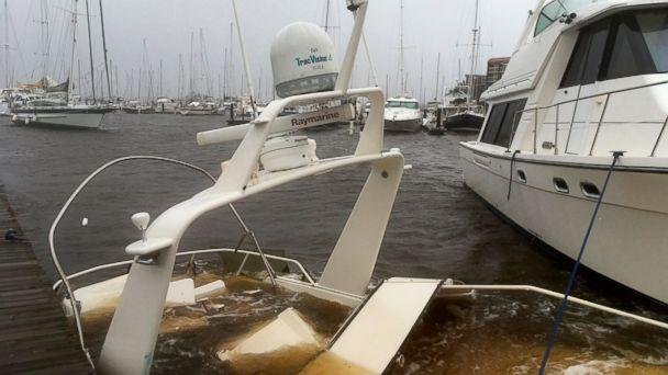 PHOTO: The mast of a sunken boat sits at a dock at the Grand View Marina in New Bern, N.C., on Friday, Sept. 14, 2018. Winds and rains from Hurricane Florence caused the Neuse River to swell, swamping the coastal city. (AP)
