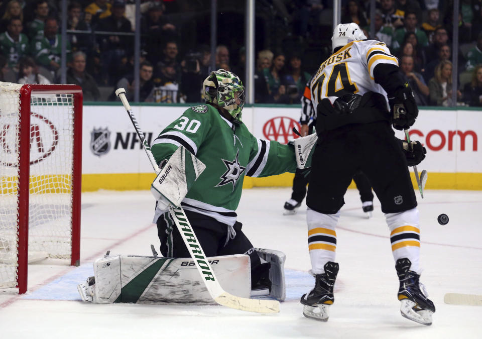 Dallas Stars goaltender Ben Bishop (30) defends against Boston Bruins left wing Jake DeBrusk (74) in the second period of an NHL hockey game Friday, Nov. 16, 2018, in Dallas. (AP Photo/Richard W. Rodriguez)