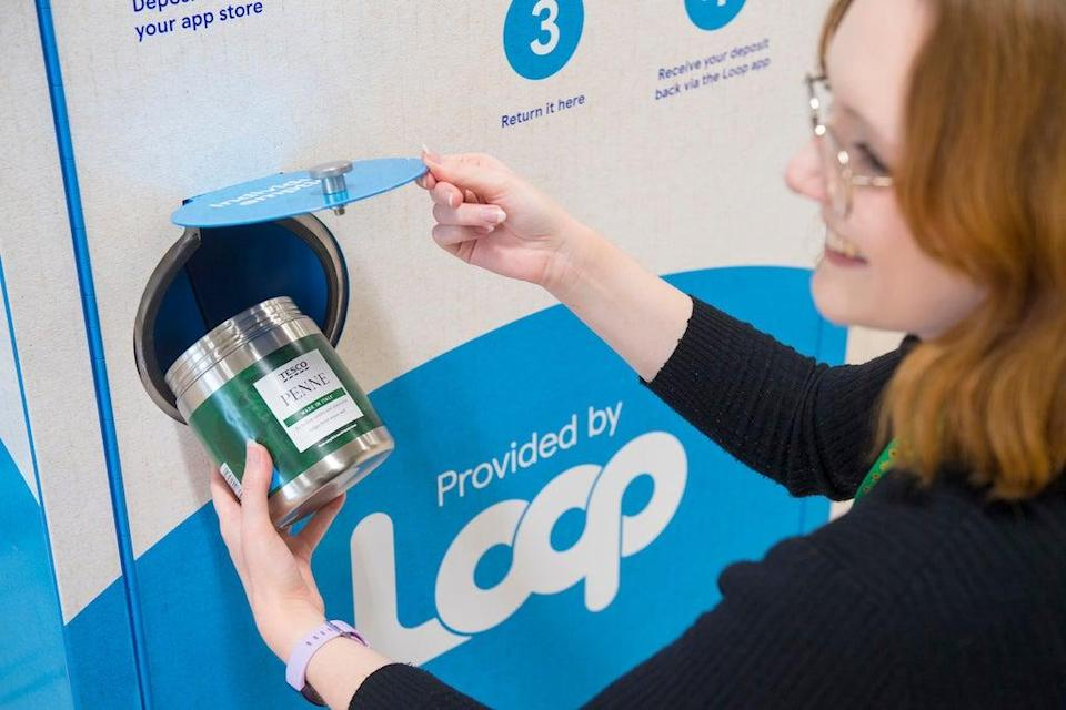 One of Tesco's new Reuse return stations, powered by Loop (PA)