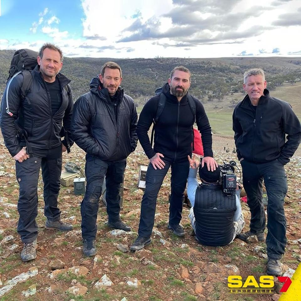 Ollie (far left) with his fellow DS Ant Middleton and Mark Billingham on SAS Australia in 2020. Photo: Channel 7.