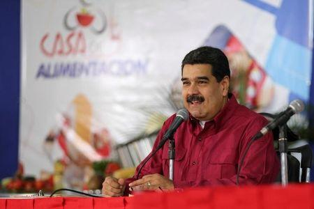 Venezuela's President Nicolas Maduro speaks during an event with supporters in Caracas