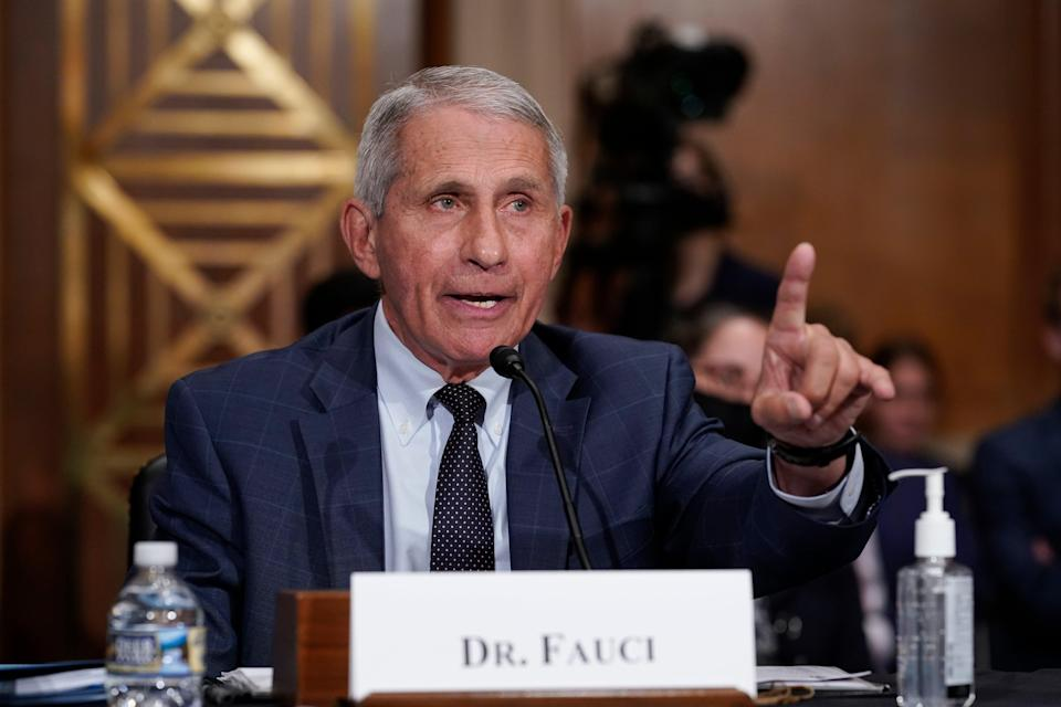 File: Dr Anthony Fauci testifies before the Senate Health, Education, Labor, and Pensions Committee on 20 July 2021 (AP)