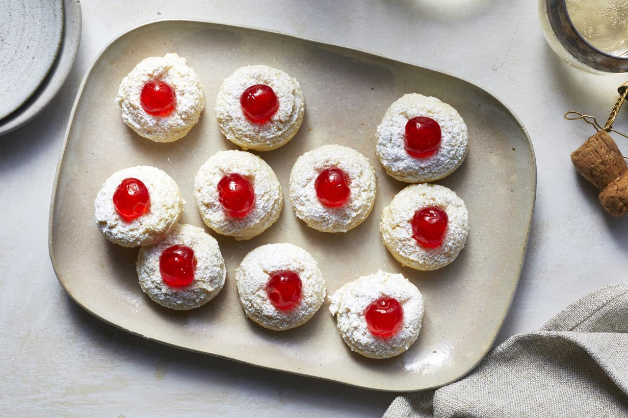 """<p><b>Recipe: </b><a href=""""https://www.southernliving.com/recipes/cheesecake-cookies""""><b>Cheesecake Cookies</b></a></p> <p>These bite-sized cheesecake cookies have a cherry fruity finish.</p>"""