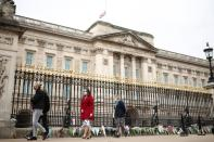 View of Buckingham Palace a day after Prince Philip died, in London