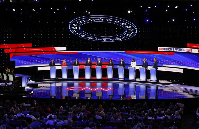The second of two Democratic presidential primary debates hosted by CNN in July in the Fox Theatre in Detroit. (Photo: Paul Sancya/AP)