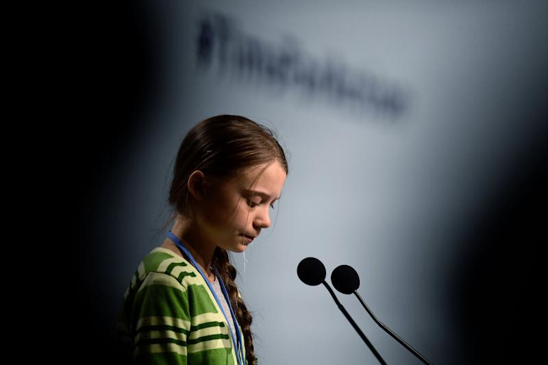 Swedish climate activist Greta Thunberg gives a speech during a high-level event on climate emergency Wednesday during the U.N. climate change conference in Madrid. (Photo: CRISTINA QUICLER via Getty Images)