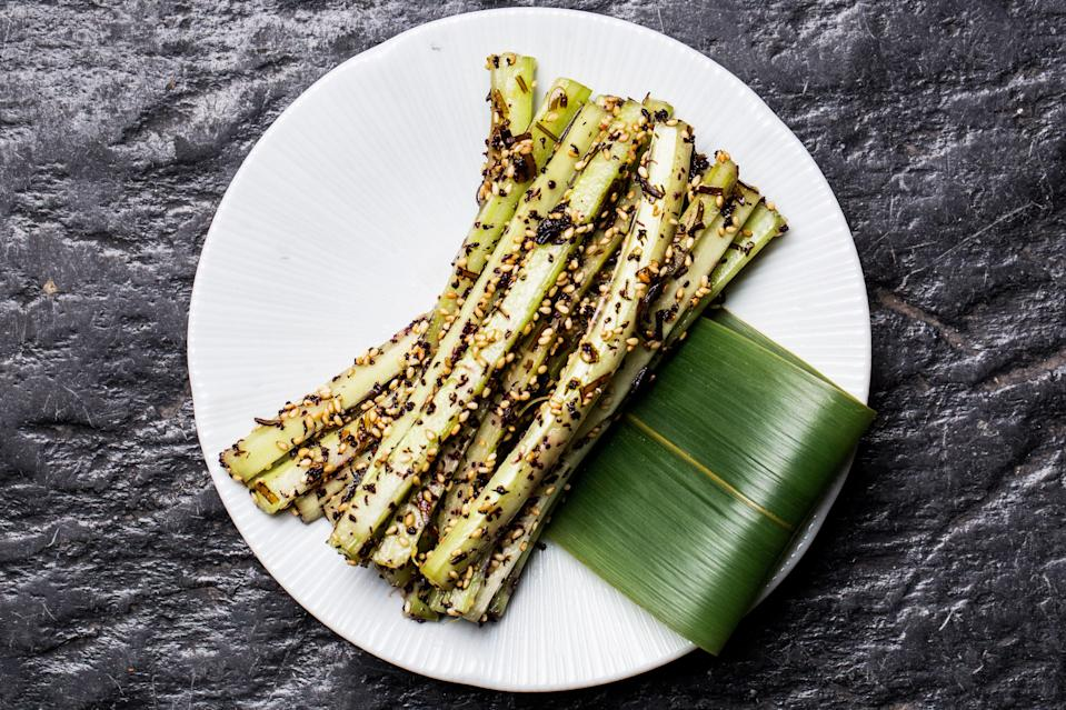 "The crunchy, salty, sesame-drenched celery sticks at Bar Goto in New York are so good, you'll forget they're made from vegetables. <a href=""https://www.bonappetit.com/recipe/kombu-celery?mbid=synd_yahoo_rss"" rel=""nofollow noopener"" target=""_blank"" data-ylk=""slk:See recipe."" class=""link rapid-noclick-resp"">See recipe.</a>"