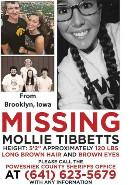 Mollie Tibbetts, 20, went missing while out for a run in Brooklyn, Iowa, on Wednesday, July 18, 2018. (Poweshiek County Sheriff's Office)