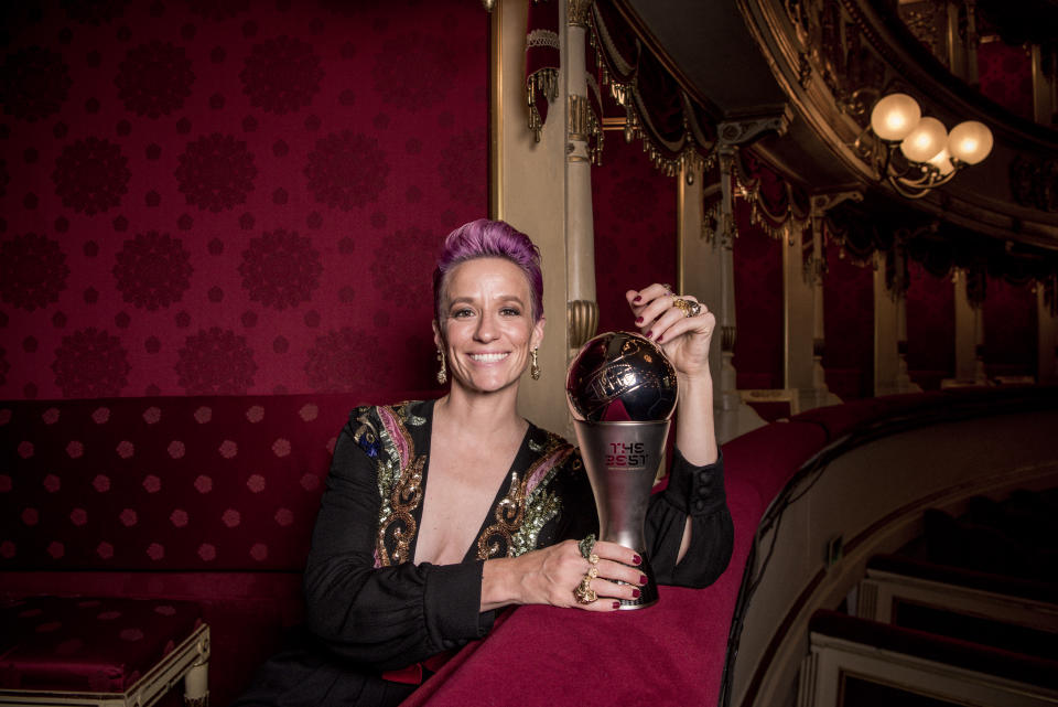MILAN, ITALY - SEPTEMBER 23:  Megan Rapinoe of Reign FC and United States poses for a photo with her The FIFA Best Women's Player Award following The Best FIFA Football Awards 2019 at Teatro Alla Scala on September 23, 2019 in Milan, Italy. (Photo by Gareth Cattermole - FIFA/FIFA via Getty Images)