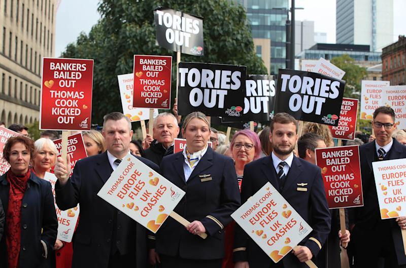 Former Thomas Cook cabin crew protesting outside the Manchester Convention Centre at the Conservative Party Conference.