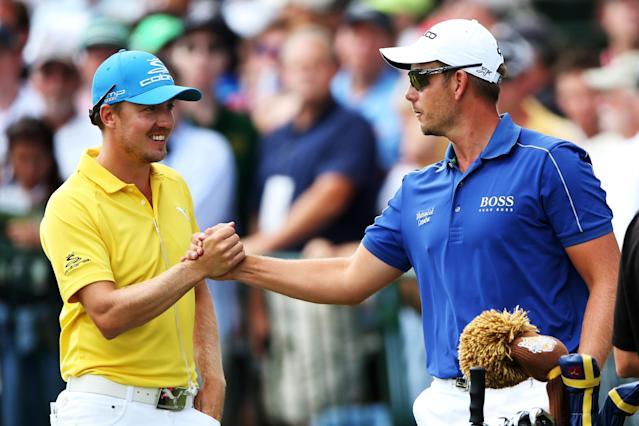 ROCHESTER, NY - AUGUST 11: Jonas Blixt (L) and Henrik Stenson of Sweden shake hands on the first tee during the final round of the 95th PGA Championship on August 11, 2013 in Rochester, New York. (Photo by Andrew Redington/Getty Images)