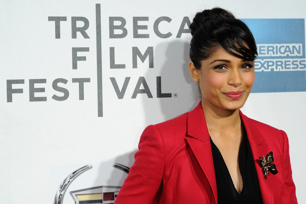 "NEW YORK, NY - APRIL 27:  Actress Freida Pinto attends the ""Trishna"" Premiere during the 2012 Tribeca Film Festival at the Borough of Manhattan Community  College on April 27, 2012 in New York City.  (Photo by Craig Barritt/Getty Images)"