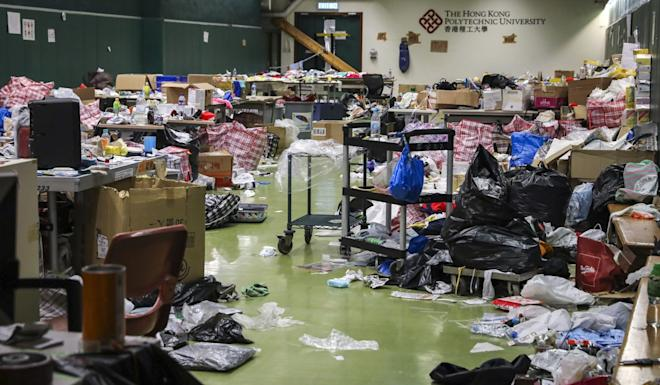 Swathes of the campus lay in ruin after radicals were holed up in the campus for nearly two weeks in November. Photo: K.Y. Cheng
