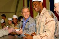 <p>With the United States army deployed in Iraq, most troops couldn't make it home to be with their families for the holidays. President George W. Bush traveled to Baghdad to host a special Thanksgiving dinner for the soldiers serving instead. </p>