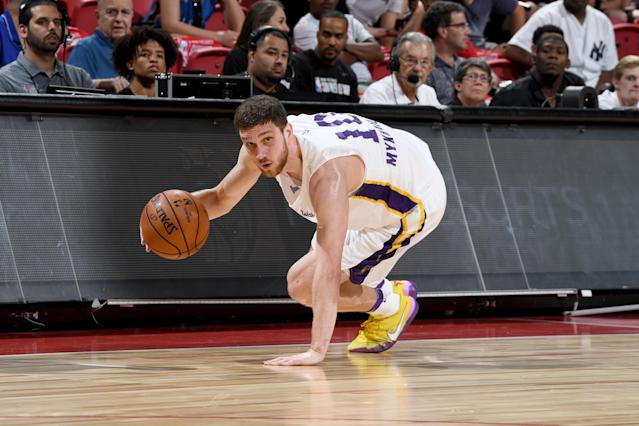 The Lakers' Svi Mykhailiuk handles the ball Saturday at summer league in Las Vegas. (Getty Images)