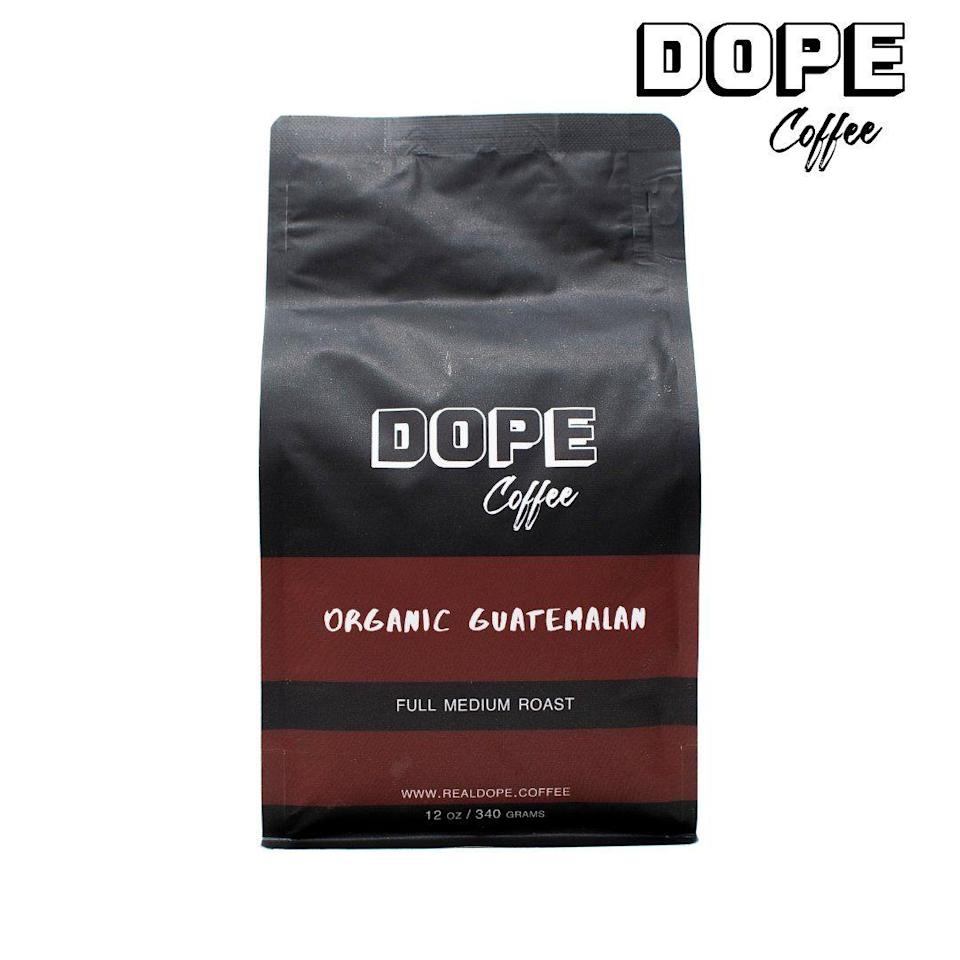 """<p>realdope.coffee</p><p><strong>$20.00</strong></p><p><a href=""""https://www.realdope.coffee/collections/all-1/products/organic-guatemalan-ground-coffee"""" rel=""""nofollow noopener"""" target=""""_blank"""" data-ylk=""""slk:BUY NOW"""" class=""""link rapid-noclick-resp"""">BUY NOW</a></p><p>Dope Coffee is a Black-owned, Atlanta-based business that specializes in coffee great for """"both novice and coffee connoisseurs."""" What's gorgeous about all of their beans—primarily these ones—is that they go perfectly with whatever it is you like to throw in your coffee.</p>"""