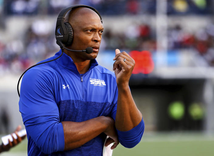 Tennessee State head coach Eddie George watches from the sidelines during the Southern Heritage Classic NCAA college football game against Jackson State in Memphis, Tenn., Saturday, Sept. 11, 2021. (Patrick Lantrip/Daily Memphian via AP)