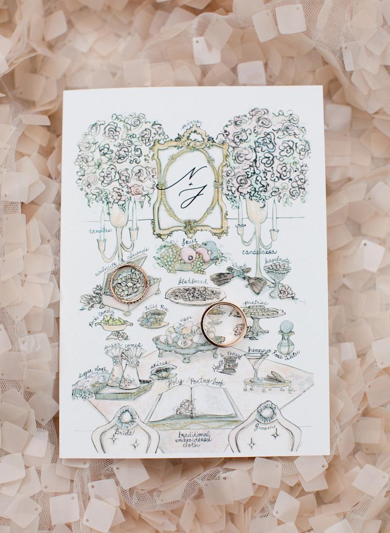 Our wedding rings sitting on top of our ceremony program with a sketch of a traditional Persian sofreh, with labels of all its symbolic references. João's wedding band is from Tiffany & Co., and my wedding band was custom-made by our friend Soraya Silchenstedt; both rings are in rose gold.