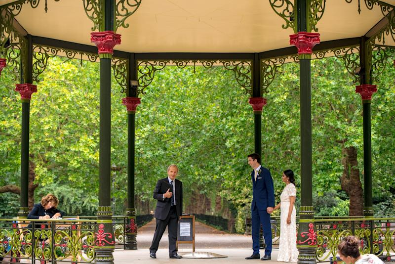 Deya Dasgupta, 36, and Sam Leigh, 31, from south London getting married at Battersea Park Bandstand (Photo: Jermaine Chandra)