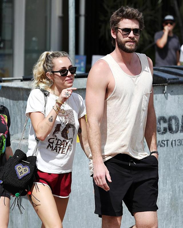 <p>The engaged lovebirds are enjoying their time on Hemsworth's home turf, as they were seen looking happy and relaxed on the Gold Coast in Queensland, Australia. (Photo: Nigel Hallett/Newspix/Getty Images) </p>