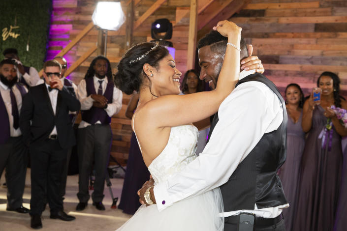 Marissa Blair and Marcus Martin dance together during their wedding reception on May 12, 2018. (Photo: Ryan M. Kelly)