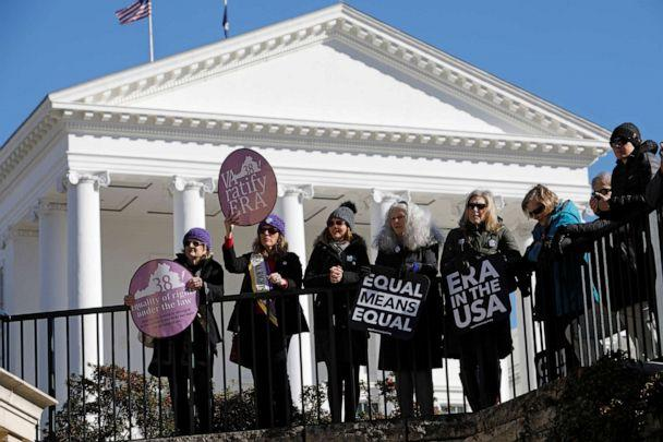 PHOTO: File photo: Activists calling for Virginia's adoption of the Equal Rights Amendment gather outside the Virginia State Capitol building as the General Assembly prepared to convene in Richmond, Va., on Jan. 8, 2020. (Jonathan Drake/Reuters)