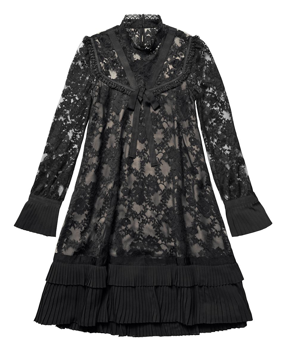 """<p>Trust Erdem to introduce us to the festive dress of dreams. Victoriana-inspired neckline? Check. Flute sleeves? Check. Pleated hem? Erm, check. What more could you possibly want? <em><a rel=""""nofollow noopener"""" href=""""http://www2.hm.com/en_gb/index.html"""" target=""""_blank"""" data-ylk=""""slk:H&M"""" class=""""link rapid-noclick-resp"""">H&M</a>, £199</em> </p>"""