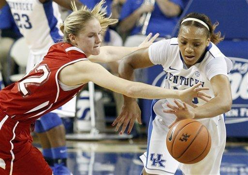 Kentucky's Bernisha Pinkett, right, and Miami (Ohio) guard Hannah Robertson go after a loose ball during the first half of an NCAA college basketball game at Memorial Coliseum in Lexington, Ky., Wednesday, Nov. 28, 2012. (AP Photo/James Crisp)