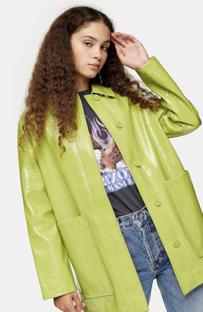 <p>We're dreaming of sun-drenched picnics in this bright and uplifting <span>Topshop Alma Crocodile Faux Leather Shirt Jacket</span> ($84, originally $125).</p>